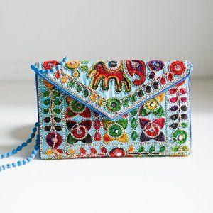 Embroidered Colourful Envelope Shoulder Bag